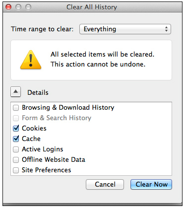 clear cache firefox mac