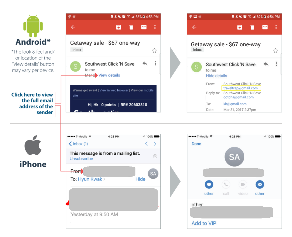 screen shots of email on android and apple phones