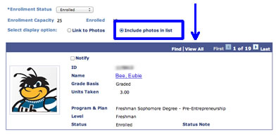 image showing student info and view all option