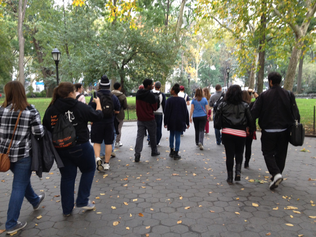 honors learning community students in Central Park