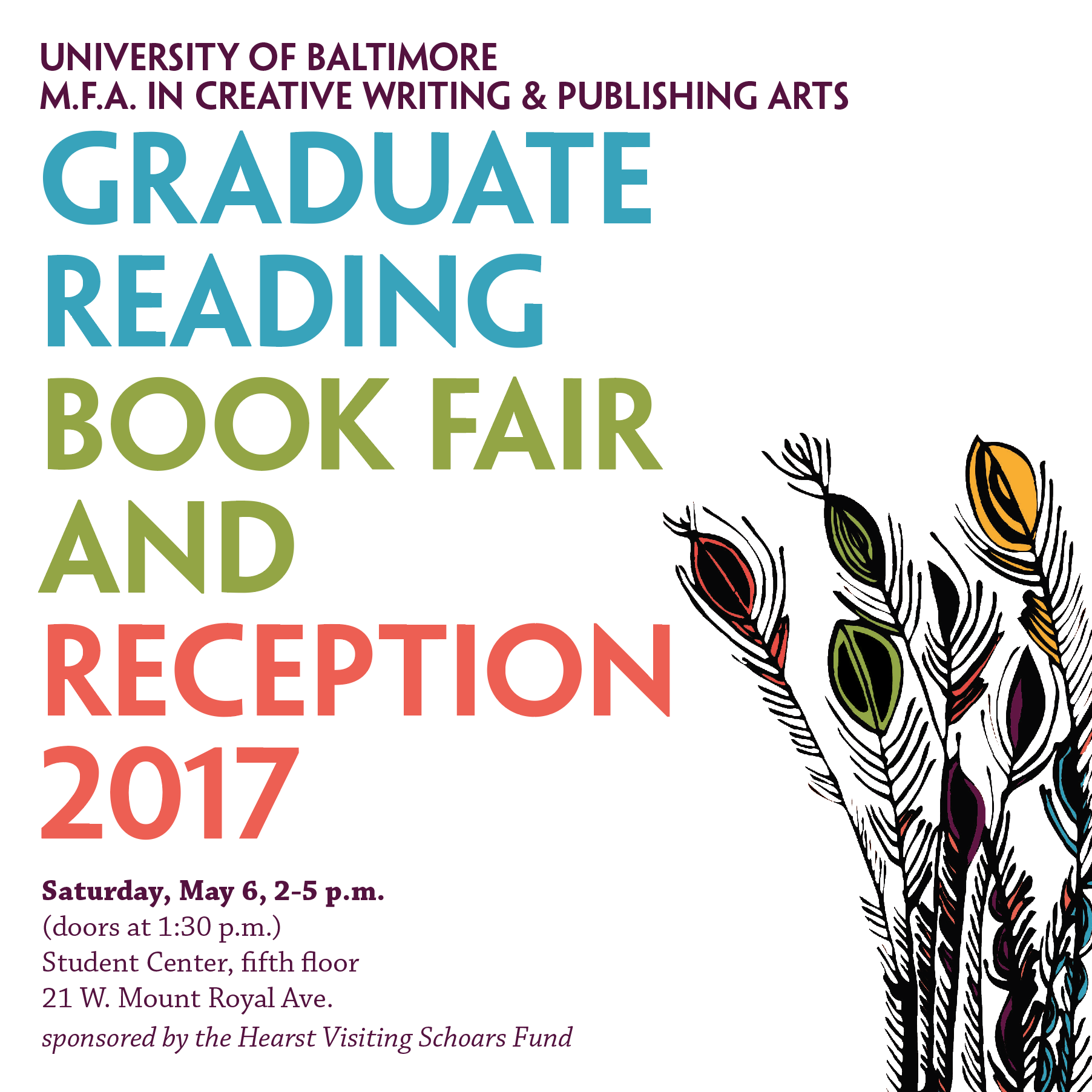 M.F.A. Graduate Reading, Book Fair and Reception 2017