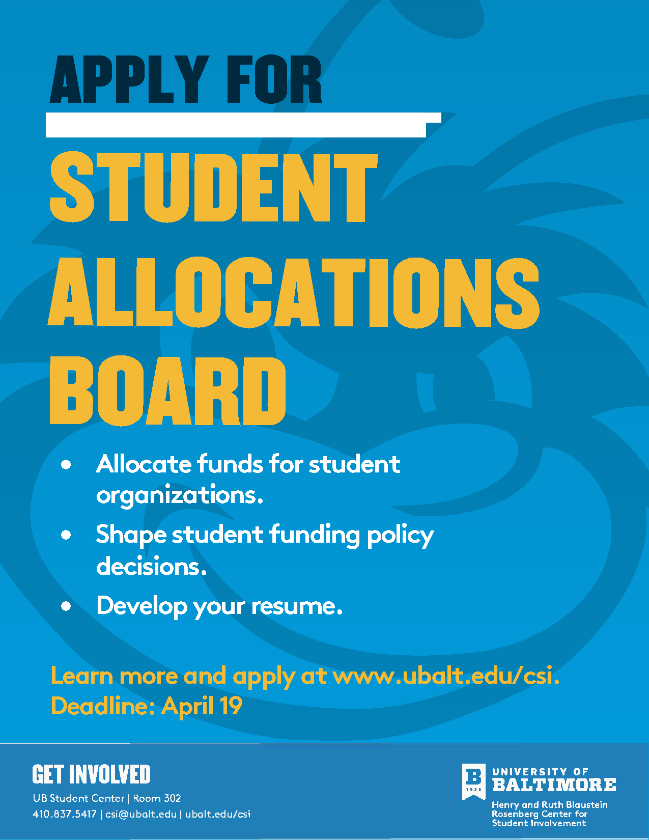 Deadline to apply for the Student Allocations Board