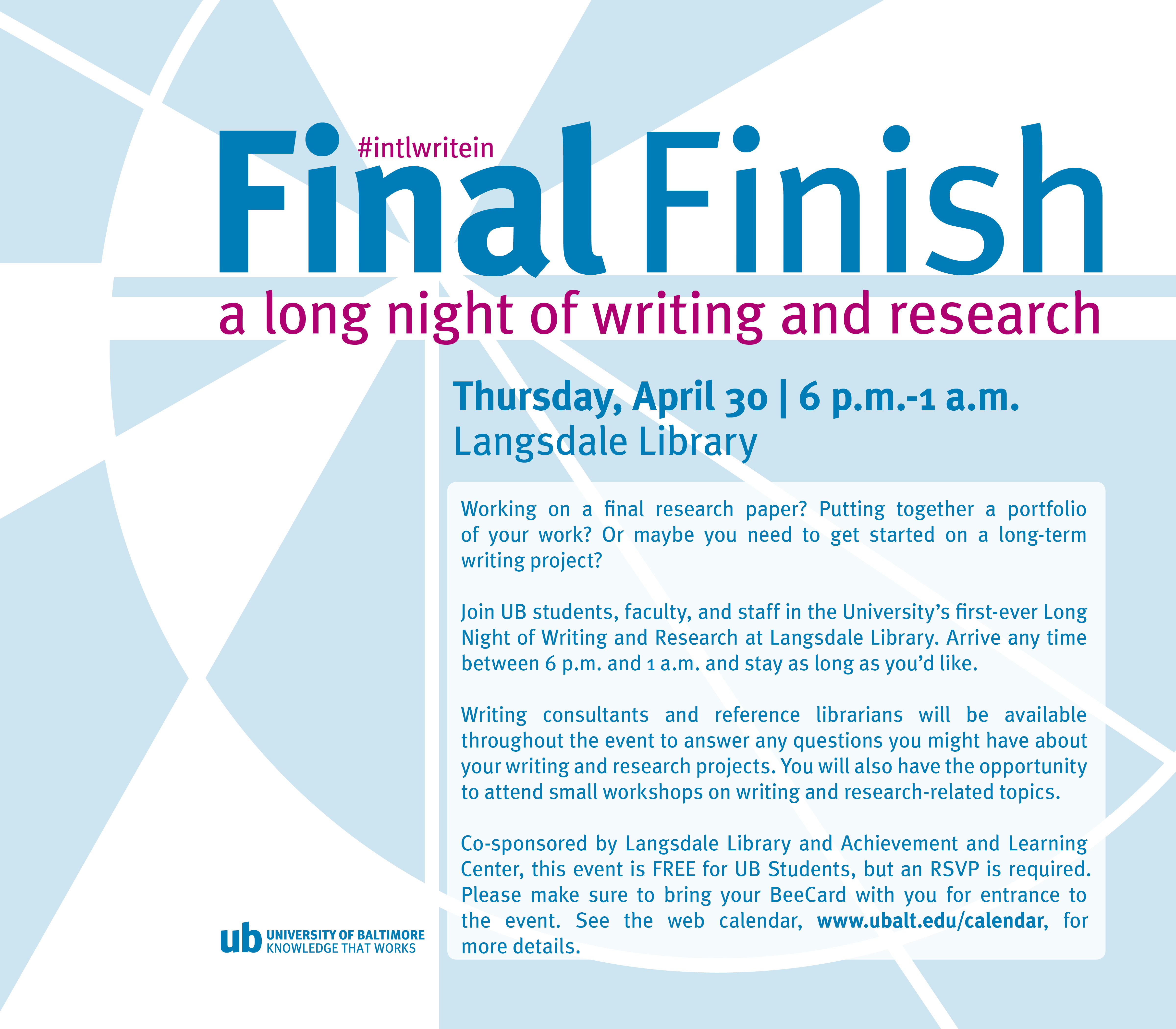 CANCELED: Final Finish: A Long Night of Writing and Research