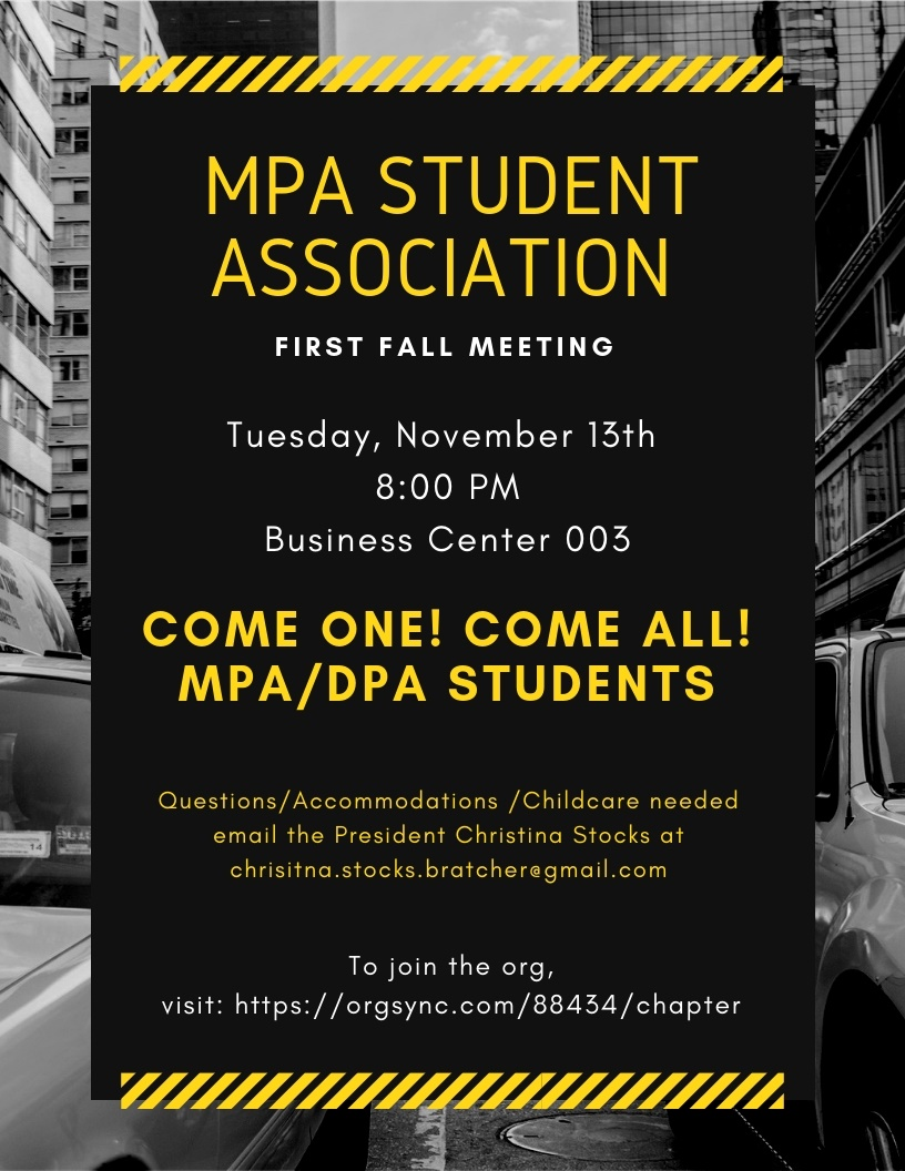 MPA Student Association First Meeting