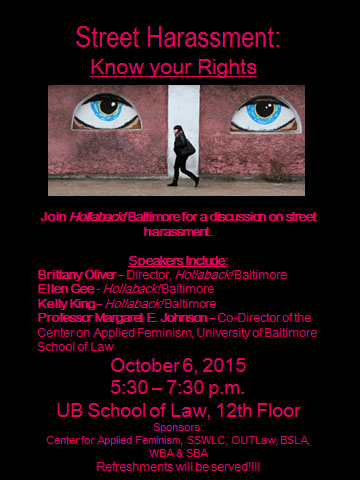 Panel Discussion on Street Harassment with Hollaback! Baltimore