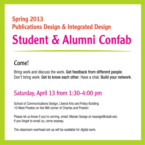 Spring 2013 Publication Design and Integrated Design Student & Alumni Confab