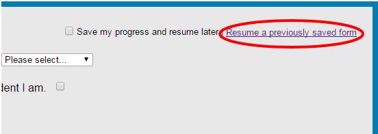 Resume a previously saved form picture