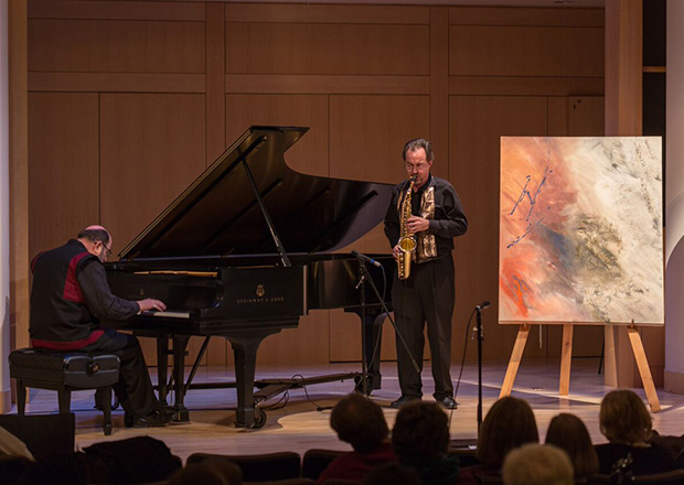 Integration of visual arts and music in the Red Door is Open program with pianist Robert Hitz and faculty member and musician/painter Jeffrey Hoover