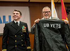 Bob Parsons receives a gift from UB Vets.