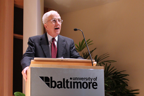 Pres. Bogomolny discusses the University's growth during the UB21/USM strategic plan event on March 16, 2011.