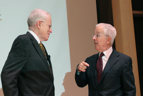 USM Chancellor Kirwan and President Bogomolny confer prior to the UB21/USM strategic plan event on March 16, 2011.