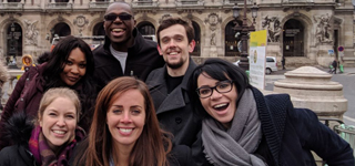 Students pose in Paris during Global Field Study