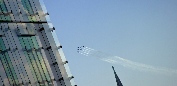 The Blue Angels streak across the sky during Baltimore's Sailabration.