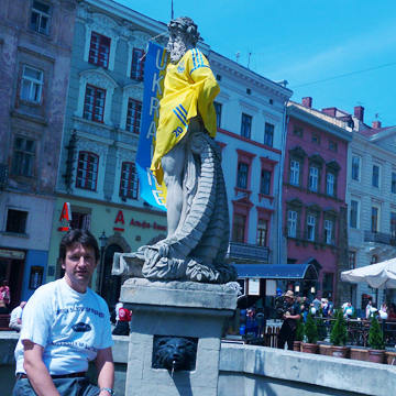 Alumnus Oleh Voloshyn, M.S. '99, showed his UB pride when he traveled home to Lviv, Ukraine.