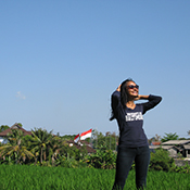 Stacy Stube with Indonesian flag