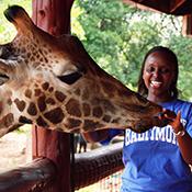 Catherine feeding a giraffe