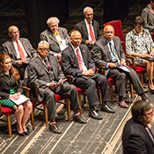 attendees on stage