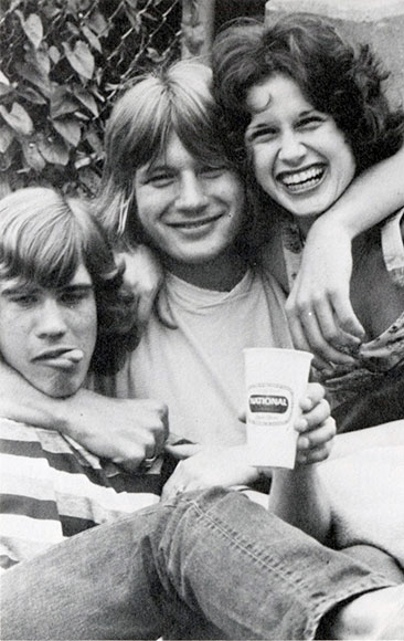 three students at the 1975 block party