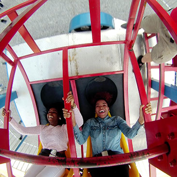 2 students on a ride
