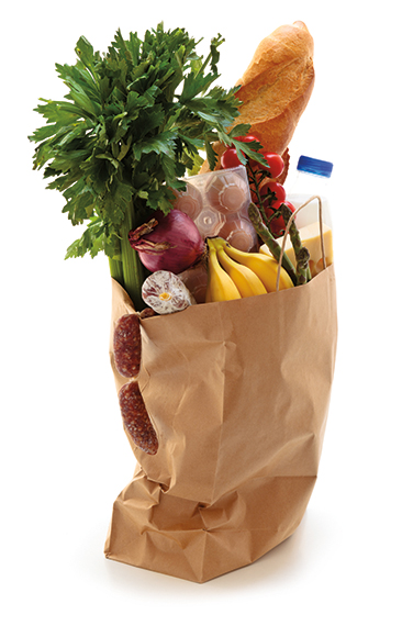 grocery bag with food