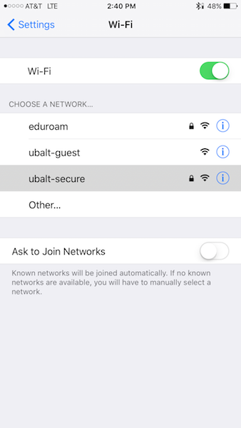 Wi-Fi Selections