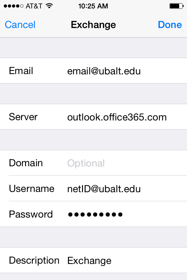 iphone office 365 settings image